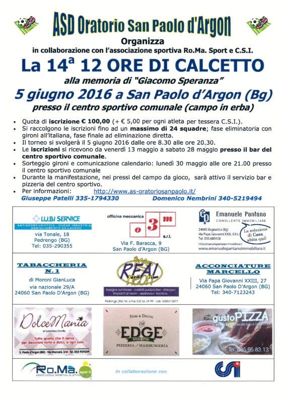 12 Ore di Calcetto San Paolo D'Argon  2016
